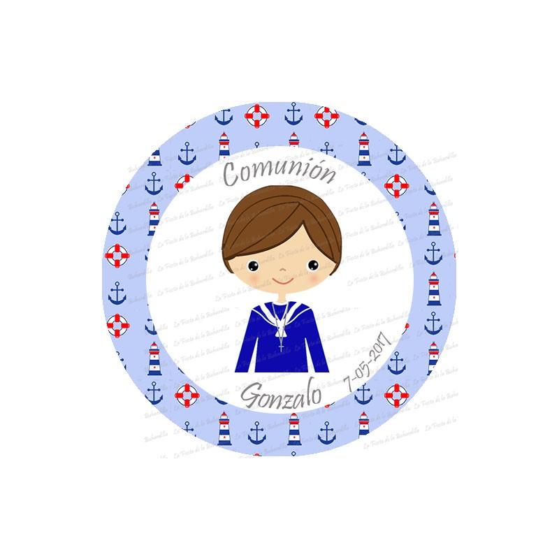 Etiquetas redondas dise o marinero personalizadas para detalles o regalos - Etiquetas comunion para imprimir en casa gratis ...