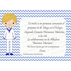 INVITACIÓN COMUNIÓN CHEVRON AZUL