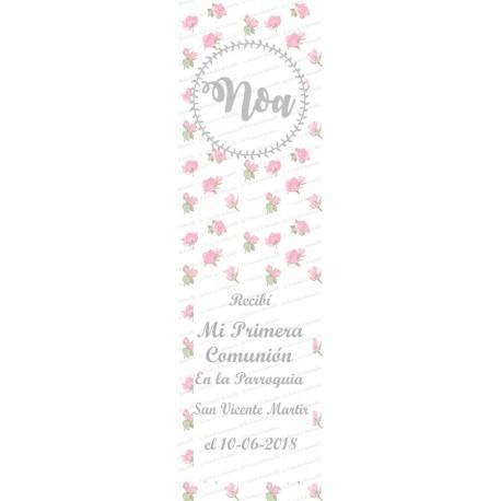 marcapaginas florecillas rosa