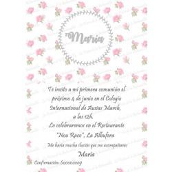 INVITACIÓN COMUNIÓN FLORECITAS ROSA