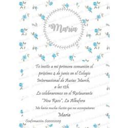 INVITACIÓN COMUNIÓN FLORECITAS AZUL