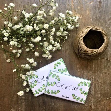 CHOCOLATINA PERSONALIZADA boda eucalipto