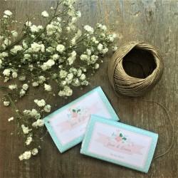 CHOCOLATINA PERSONALIZADA boda mint flores