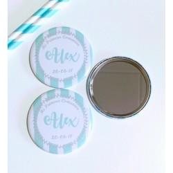 espejo personalizado raya verde mint