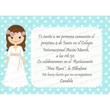 INVITACIÓN COMUNIÓN ESTRELLITAS AZUL AQUA