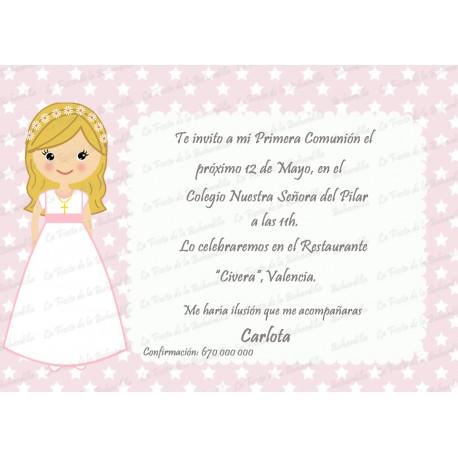INVITACIÓN COMUNIÓN ESTRELLITAS ROSA