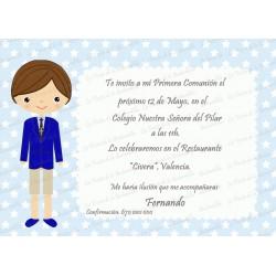 INVITACIÓN COMUNIÓN ESTRELLITAS AZUL CIELO