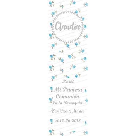marcapaginas florecillas azul