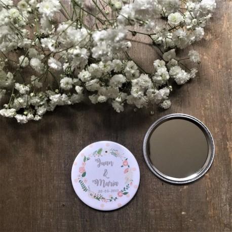 espejo personalizado boda corona flor