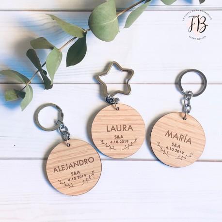Llavero personalizado madera boda redondo