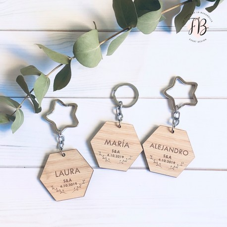 Llavero hexagonal personalizado madera boda